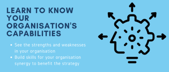 Learn to know your organisations capabilities