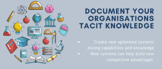 Document your organisations tacit knowledge